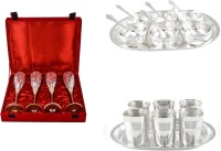 Silver Wilver 4 Queen Vine Glass, Manchurian Bowl And Square Glow Finish Glass Set Pack Of 24 Dinner Set (Silver Plated)