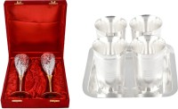 Silver Wilver 2 Queen Vine Glass Set And Juli Diamond Glass Set Pack Of 7 Dinner Set (Silver Plated)
