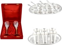 Silver Wilver 2 Queen Vine Glass Set, Manchurian Bowl Set And Mayuri Glass Set Pack Of 22 Dinner Set (Silver Plated)