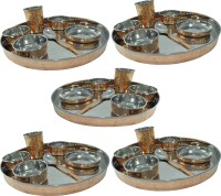 Prisha India Craft Large Dinnerware Stainless Steel Copperware Platter Pack Of 35 Dinner Set (Copper)