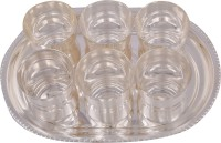Jaipur Trade Silver Plated 6 Damru Glass With Tray Pack Of 7 Dinner Set (Silver Plated)
