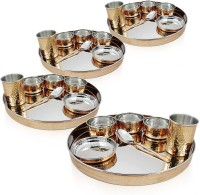 Dungri India Craft Indian Dinnerware Stainless Steel Copper Thaliset ,Set Of 4 ( 4 Thali, 4 Spoons, 4 Tumblers, 12 Serving Bowls, 4 Dessert Bowls) Pack Of 28 Dinner Set (Copper)