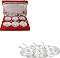 Silver Wilver 6 Mor Bowl And Manchurian Bowl Set With Spoons Pack Of 26 Dinner Set (Silver Plated)