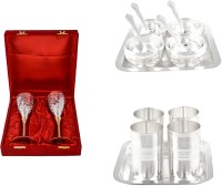 Silver Wilver 2 Queen Vine Glass Set, Manchurian Bowl Set And Amrapali Glass Set Pack Of 16 Dinner Set (Silver Plated)