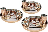 Dungri India Craft Dinnerware Set, Copper Stainless Steel Large Dinner Plate, Cutlery, Bowls, And Glass ( 3 Thaliset ) Pack Of 30 Dinner Set (Copper)