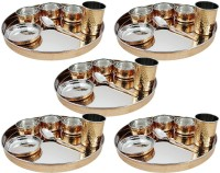Dungri India Craft Dinnerware Stainless Steel Copper Thaliset ,Set Of 5( 5 Thali, 5 Spoons, 5 Tumblers, 15 Serving Bowls, 5 Dessert Bowls) Pack Of 35 Dinner Set (Copper)