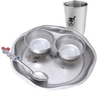 Zahab Feeder Set For Kids Silver Stainless Steel 5 Piece Set Pack Of 5 Dinner Set (Stainless Steel)