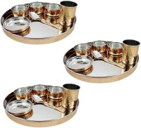 Dungri India Craft Stainless Steel Copper Traditional Thaliset ,Set Of 3( 3 Thali, 3 Spoons, 3 Tumblers, 9 Serving Bowls, 3 Dessert Bowls) Pack Of 21 Dinner Set (Copper)