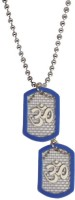 Men Style New Style Om Blue Border Engraved Silver Dog Tag