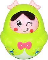 Ole Baby Nodding Baby Rattles Roly-poly With Music Toys Children Kids Lovely Face Tumblers (Green)