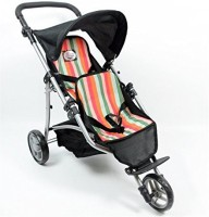 The New York Doll Collection My First Doll Twin Jogger Stroller, Striped (Multicolor)