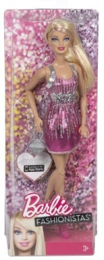 Barbie Dolls & Doll Houses Barbie Fashionistas Pink And Silver Dress