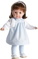 JC Toys Brunette Toddler Doll, 14-Inch Soft Body Doll Dressed In Pretty Blue And White Dress. (Multicolor)