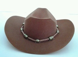DollsHobbiesNmore Brown Western Cowgirl Hat With Beaded Rope Design