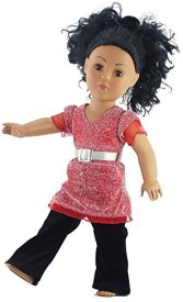 Emily Rose Doll Clothes 18 Inch Long Sparkly Top & Velvet Pants Outfit Fits 18