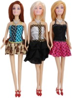 Tootpado Beautiful Girl Dolls As Fashion Diva (Pack Of 3) - Fun Fashion Holiday Toys For Kids (Multicolor)