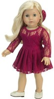 Sophia's 18 Inch Doll Clothes Outfit, 2 Pc. Elegant Berry Long-Sleeved Lace Doll Dress & Hair Bow! Perfect Fit For Your 18 Inch American Dolls Clothes & More! Berry Long Sleeve Lace Dress W/Hair Bow (Pink)