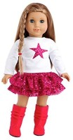 DreamWorld Collections Pink Star - White Blouse With Pink Star, Pink Sequin Ruffle Skirt And Hot Pink Boots - 18 Inch American Girl Doll Clothes (Multicolor)