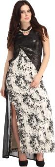 Raas Prêt Women's High Low, Maxi, Layered White, Black Dress