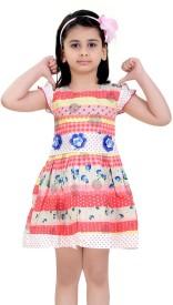 ABHIRA Baby Girl's A-line Orange Dress