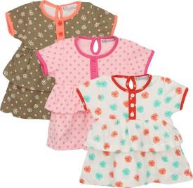 EIMOIE Baby Girl's Gathered Brown, Pink, Orange Dress