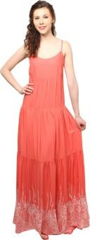 Moderno Women's Maxi Orange, White Dress