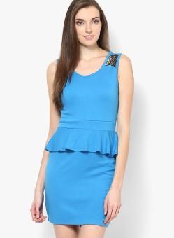Vero Moda Women's Peplum Blue Dress