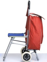 Kawachi Shopping Trolley Bag With Folding Chair -Red 0 Inch/0 Cm Red