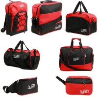 FIDATO Unisex Nylon & Polyester Set Of 7 Travel Bags Combo 19 Inch/50 Cm Black, Red