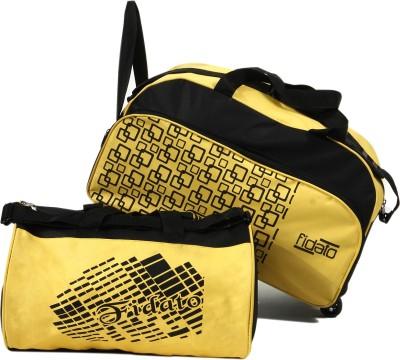 FIDATO Combo Of Duffle Bag (With Wheels) & Gym Bag 18 Inch/48 Cm Yellow, Black