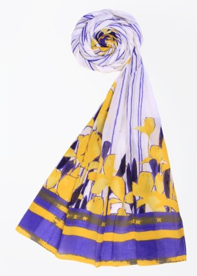 W W Cotton Floral Print Women's Dupatta (Blue)