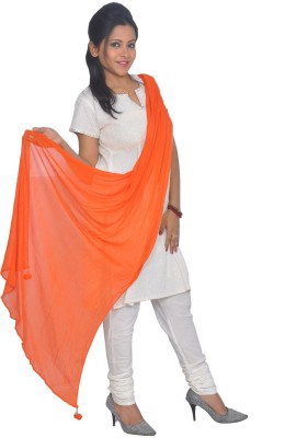 Chhipaprints Chhipaprints Pure Chiffon Solid Women's Dupatta (Orange)