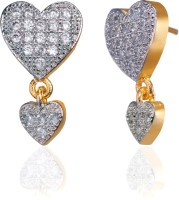 Alysa Aanchal 18K Yellow Gold, Rhodium Plated Cubic Zirconia Brass, Alloy, Silver Drop Earring