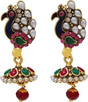 Memoir Gold Plated Rich And Colourful Meenakari Peacock Designer Pearl Brass Jhumki Earring