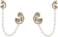 Kriaa Austrian Stone White Meenakari Pearl Chain - 1305635  K Alloy Cuff Earring
