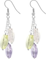 Gemtogems Semi-precious Stones Cluster Rhodium Plated Quartz Sterling Silver Dangle Earring