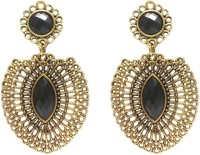 Charvee Gold Oxidised Black Stone (Style -1) Alloy Drop Earring