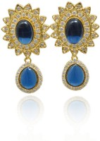 Jaipur Mart Designer Ad And Blue Glass Stone Studded Rhodium Plated Cubic Zirconia Brass Drop Earring