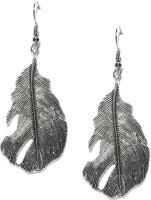 Toniq Silver Feather Metal Dangle Earring
