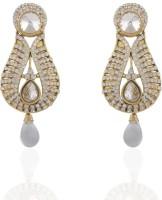 Adya 22K Yellow Gold Plated Diamond Alloy, Enamel, Crystal Drop Earring