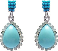 Jewelz Oval Light Blue Metal Drop Earring
