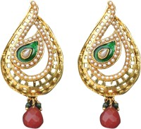 ACW Gold Plated Maroon Drop With Pearls And Green Enamel Work Earrings For Women Alloy Drop Earring