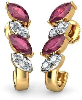 BlueStone The Veronias 18 K Diamond, Ruby Yellow Gold Hoop Earring