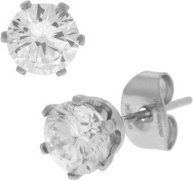 Inox Jewelry 6mm Classic Cubic Zirconia Stainless Steel Stud Earring