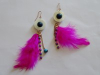 Purple Pink Pink Feather & Shell Long Hoop Brass, Wood, Glass Drop Earring, Dangle Earring