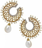 The Jewelbox Chaand Filigree Dangling Pearl Copper Drop Earring
