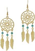 Fabula Gold & Turquosie Dream Catcher Dangling Metal Dangle Earring