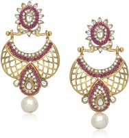 Meenaz Pink And White Stone Design  K Cubic Zirconia Alloy Chandelier Earring
