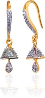 Alysa Advika 18K Yellow Gold, Rhodium Plated Cubic Zirconia Brass, Alloy, Silver Jhumki Earring
