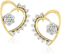 Forevercarat Dazzle Heart 14K Yellow Gold Plated Diamond Silver Stud Earring